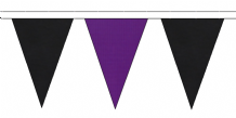 BLACK AND PURPLE TRIANGULAR BUNTING - 10m / 20m / 50m LENGTHS